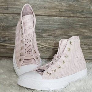 New Converse CTAS Hi Top Knitted Pink Sneakers